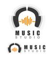 Music headphones logo vector image vector image