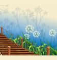 nature scene with wooden bridge vector image vector image