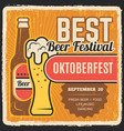 oktoberfest vintage poster craft beer invitation vector image