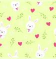 pattern with cute hares vector image vector image