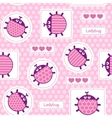 Pink ladybirds seamless pattern vector image vector image