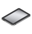 realistic tablet in left side isometry isolated vector image