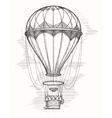 Retro hot air balloon sketch vector image