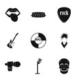 rock music festival icon set simple style vector image vector image