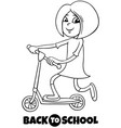 school girl on schooter cartoon coloring book vector image vector image