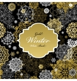 Seamless pattern with golden white snowflakes text vector image