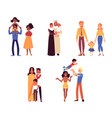 set happy diverse ethnicity and race families vector image