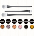 Set of colored eyeshadows and brushes on white vector image vector image
