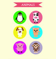 set stickers animals dog cat cow pig penguin vector image vector image