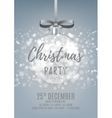 Silver Christmas party flyer with glass ball
