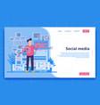 social media landing page concept vector image