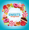 sweet candy frame lollipop round and twisted shop vector image vector image