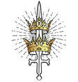 sword and two crowns vintage gothic style vector image