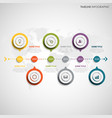 time line info graphic with round color design vector image vector image