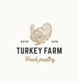 turkey farm fresh poultry abstract sign vector image vector image