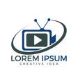 tv media logo design video cam sign vector image vector image