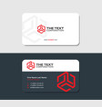 two sided business card red hexagon vector image vector image