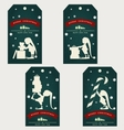 vintage christmas gift tags with cute elf vector image vector image
