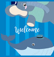 welcome card with cute animals vector image