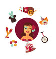 female circus performer and equipment isolated vector image