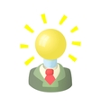 Businessman with light bulb head icon vector image