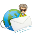 A globe with a wired envelope and a man vector image vector image