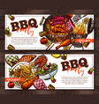 bbq and grill horizontal banner for barbecue party vector image