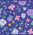beautiful flower field pattern vector image vector image