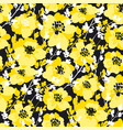 black and yellow fun floral seamless pattern vector image vector image