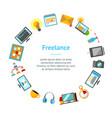 cartoon freelance signs banner card circle vector image vector image