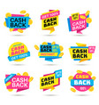 cashback labels cash back banners return money vector image vector image