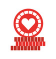 casino chips with heart vector image vector image