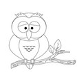 colorless funny cartoon owl vector image vector image