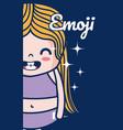 cute girl emoji vector image vector image