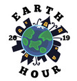 earth planet background with house and nature vector image vector image