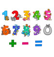 educational numbers set with cartoon animals vector image vector image