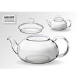 empty glass teapot set on transparent background vector image vector image