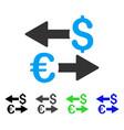 euro dollar transactions flat icon vector image vector image