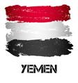 flag of yemen from brush strokes vector image