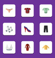 flat garment set of brasserie foot textile t vector image vector image
