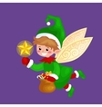 Flying Christmas elf isolated with wings and magic vector image