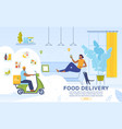 food delivery online service advertising banner vector image vector image