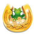 golden horseshoe coins and a frog with a flower vector image vector image