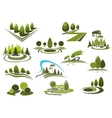 Green park garden and forest landscape icons vector image vector image