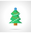 Green Xmas tree flat color icon vector image vector image
