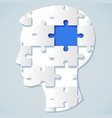 human face in the form of a puzzle with a blue mid vector image vector image