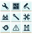 industrial icons set with towers set of keys vector image vector image