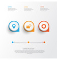 internet icons set collection of inbox pin gear vector image vector image