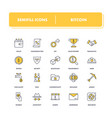 line icons set bitcoin vector image vector image