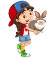 Little girl carrying gray rabbit vector image vector image